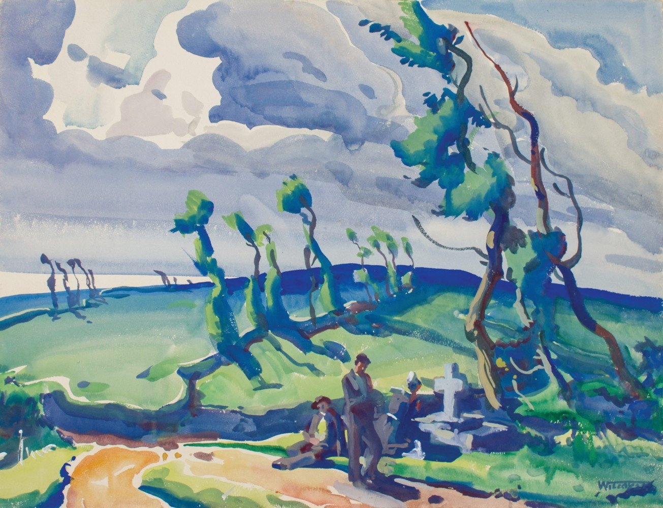 Figurative Landscape Watercolor and Gouache on Board Painting: