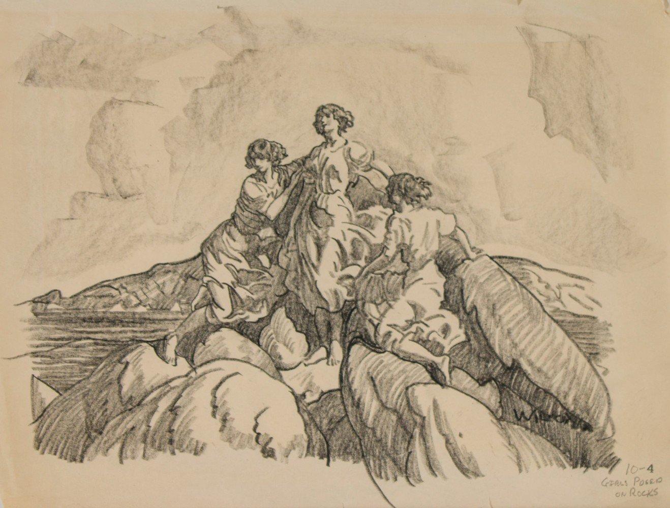 Study of Girls Posed on Rocks on Bonaventure Island by Frank Nelson Wilcox