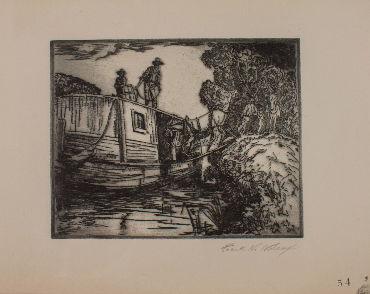 Figurative Landscape Etching in Paper Drawing: