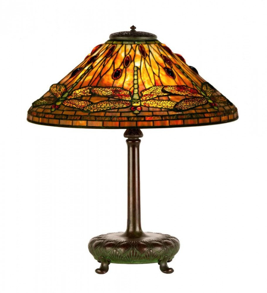 Tiffany Dragonfly Leaded Glass and Bronze Table Lamp