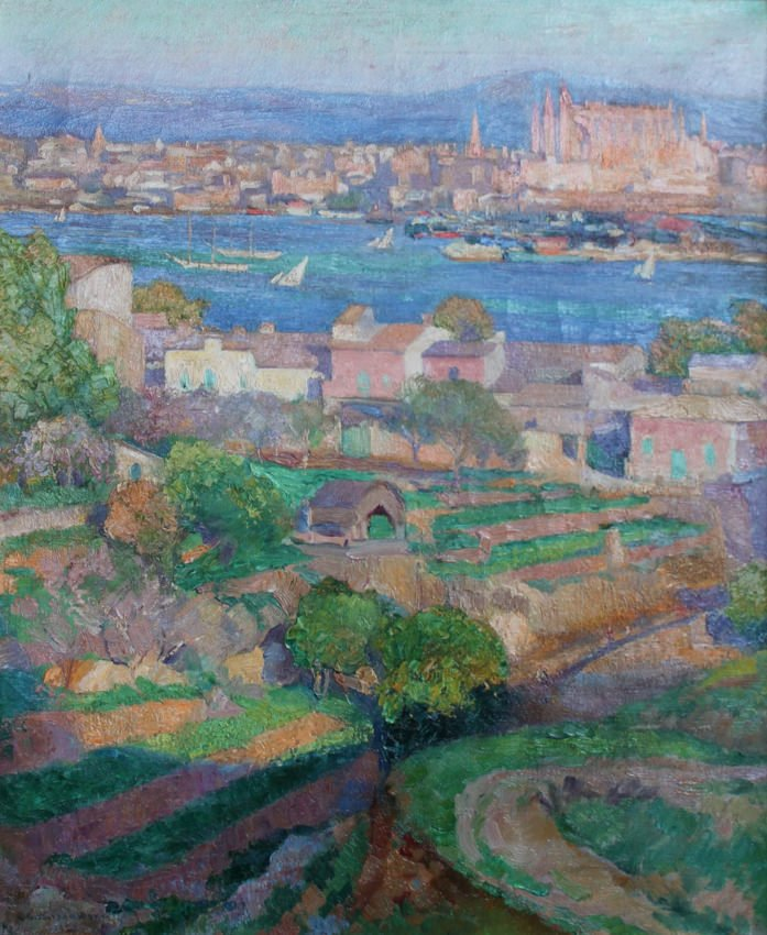 Mallorca with a view of La Catedral de Palma by Abel G. Warshawsky