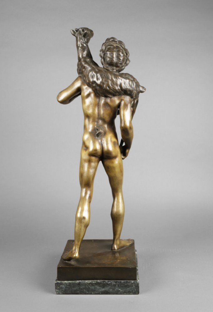 Bronze Figure of Classical Shepherd, after Emile Louis Picault