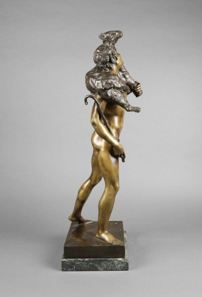 Bronze Figure of Classical Shepherd, after Emile Louis Picault