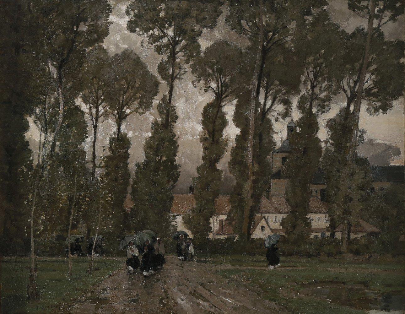 Rainy Walk Through an English Estate by Alfred Edward East