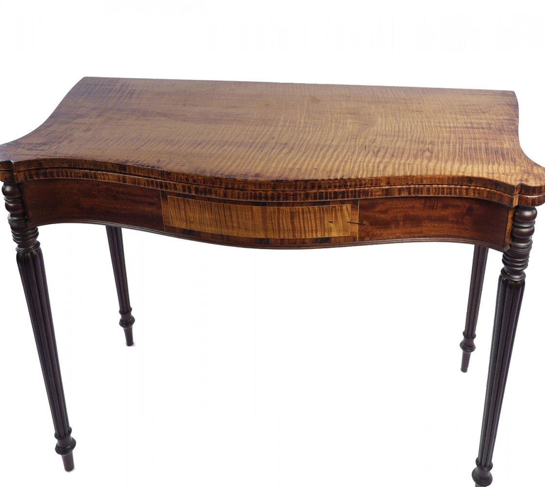 Finely Figured American Tiger Maple Turret Top Game Table