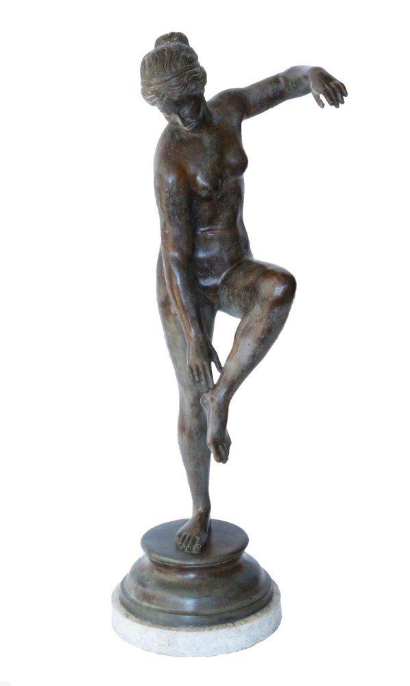 Figurative Bronze Sculpture on Marble Base Sculpture: