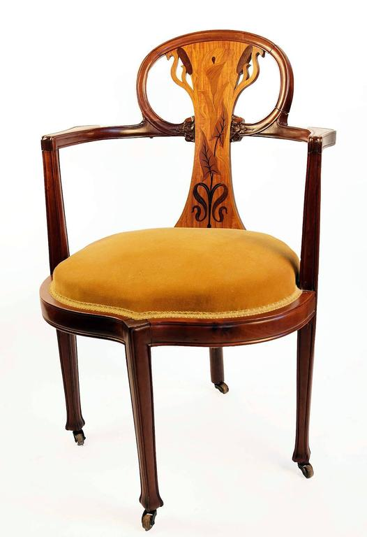 Art Nouveau Inlaid Writing Desk and Chair