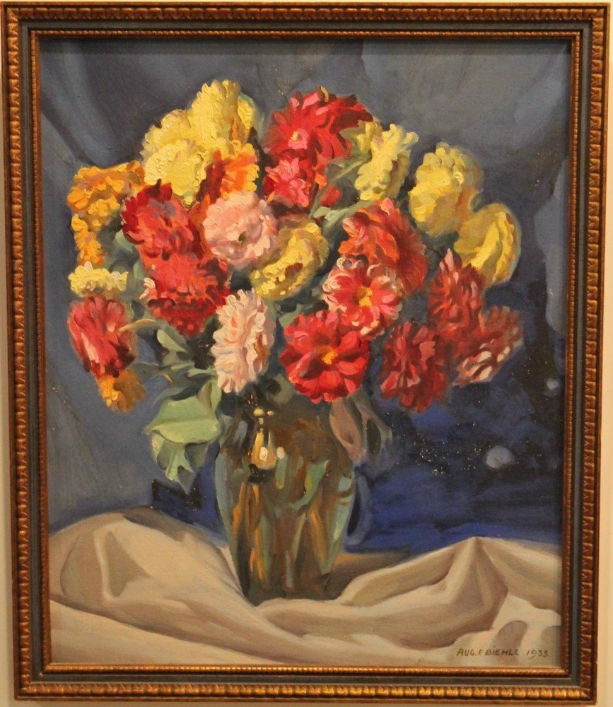 Still Life, Zinnias in a Vase by August Biehle
