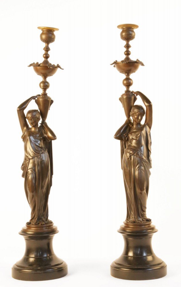 Auguste Joseph Peiffer, Pair 19th century Bronze Candelabra by Auguste Joseph Peiffer