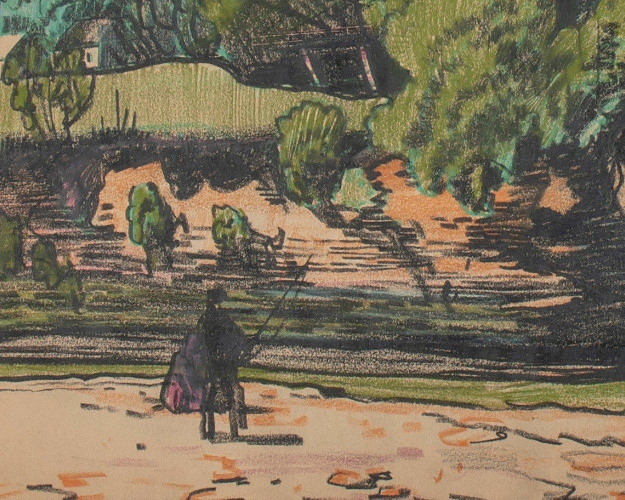 Landscape Conté Crayon and Gouache on Paper Drawing: