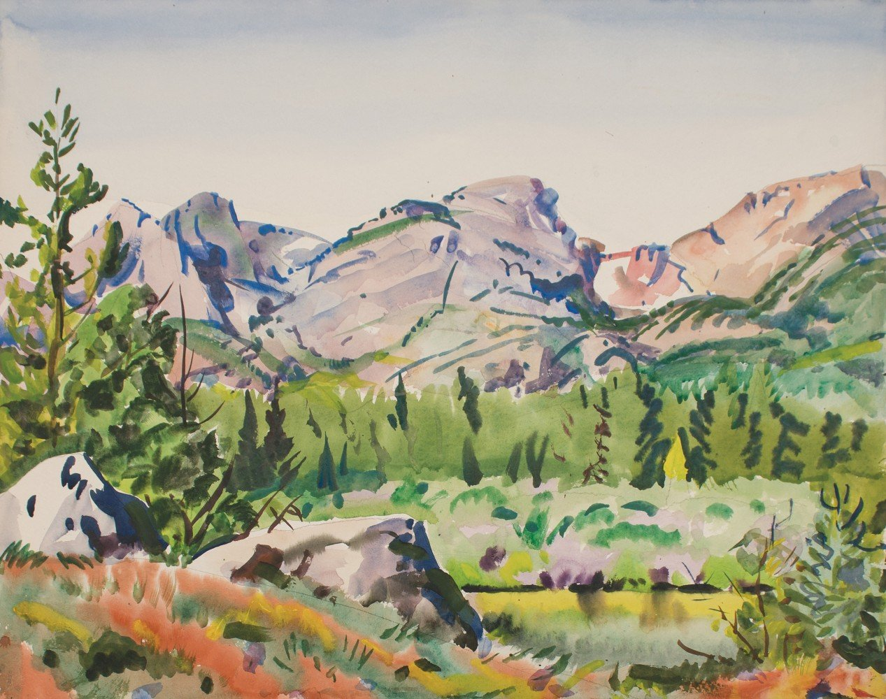 Landscape Watercolor on Paper Painting: