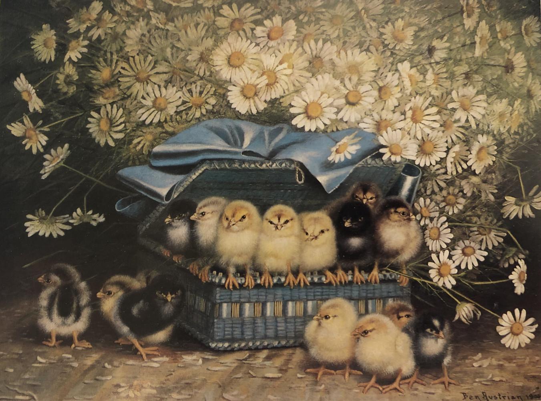 Chicks in a Blue Basket by Ben Austrian