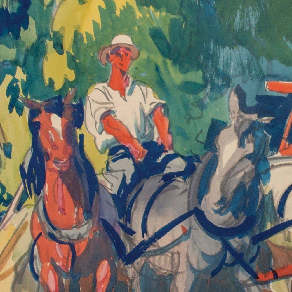 Figurative Landscape Watercolor on Paper Painting: