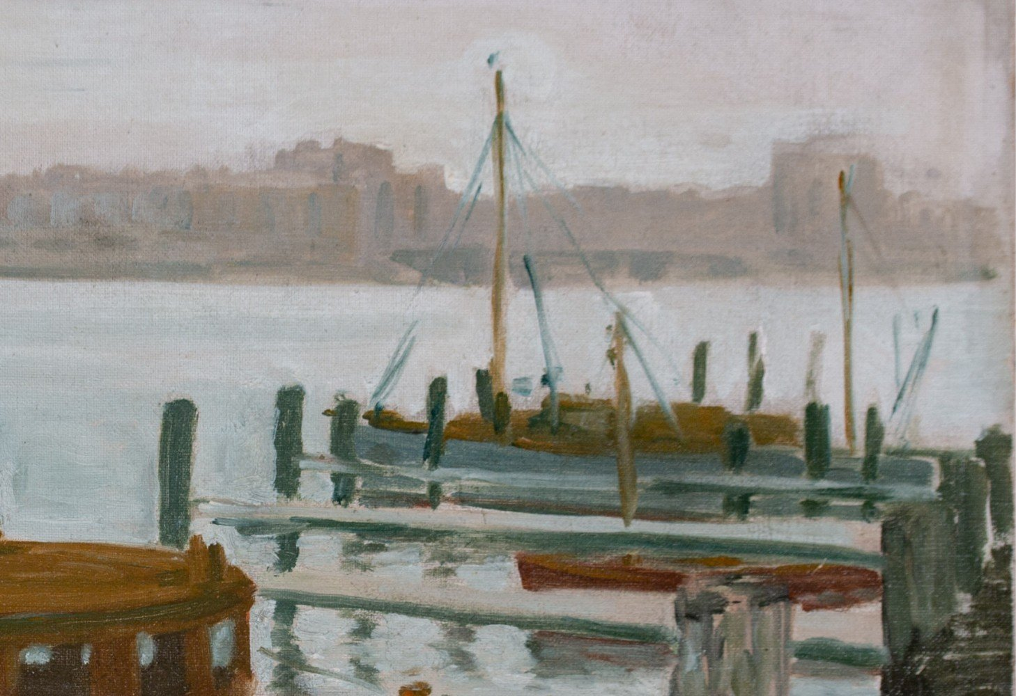 Boats at City Dock, Early 20th Century American School