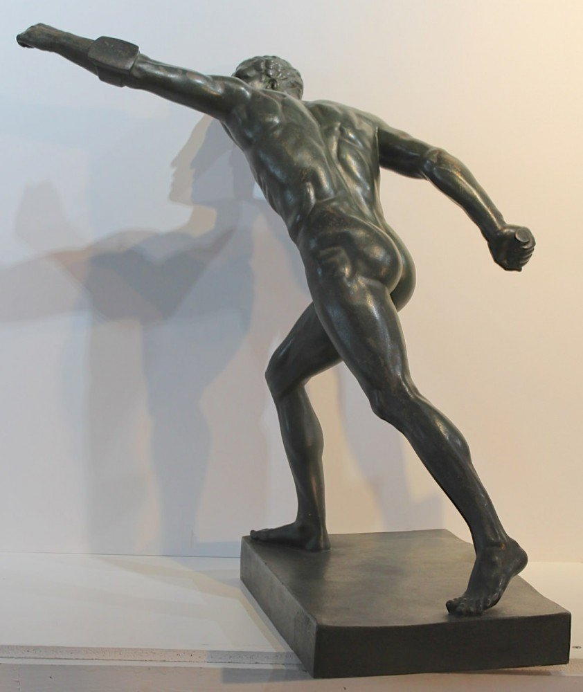 Figurative Bronze with Green Patination Sculpture: