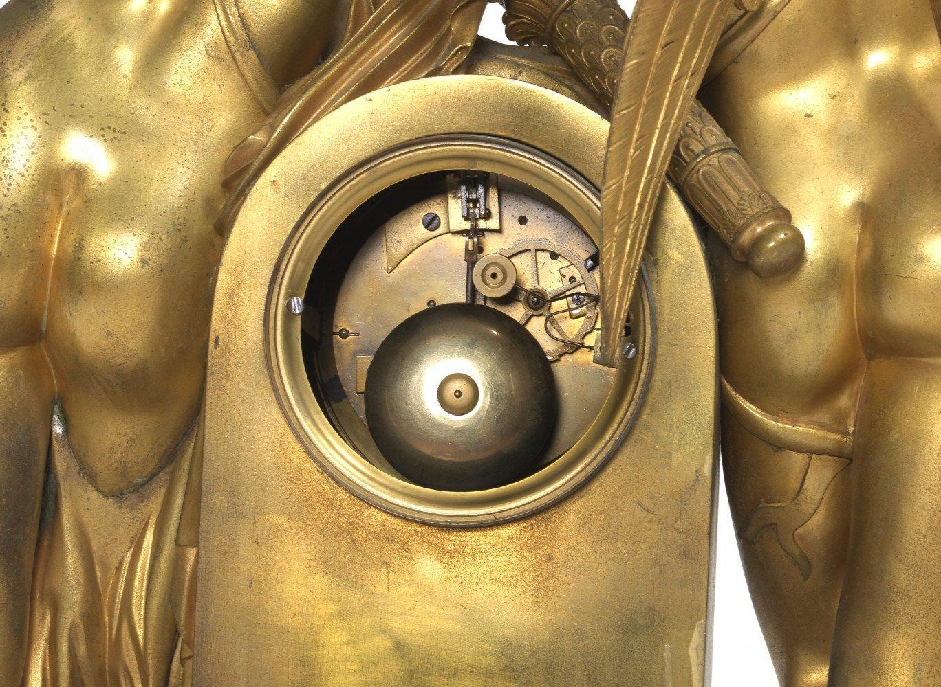 Eros and Diana Gilt Bronze Clock