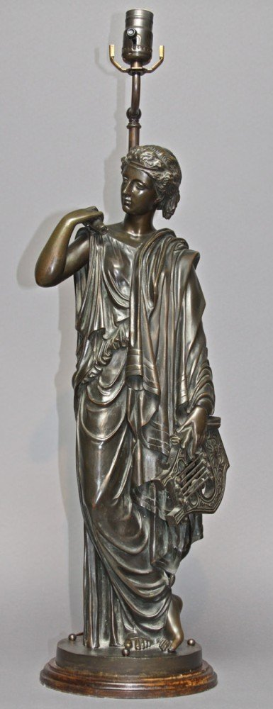 19thc. French School Bronze, The Muse Erato, fitted as a table lamp