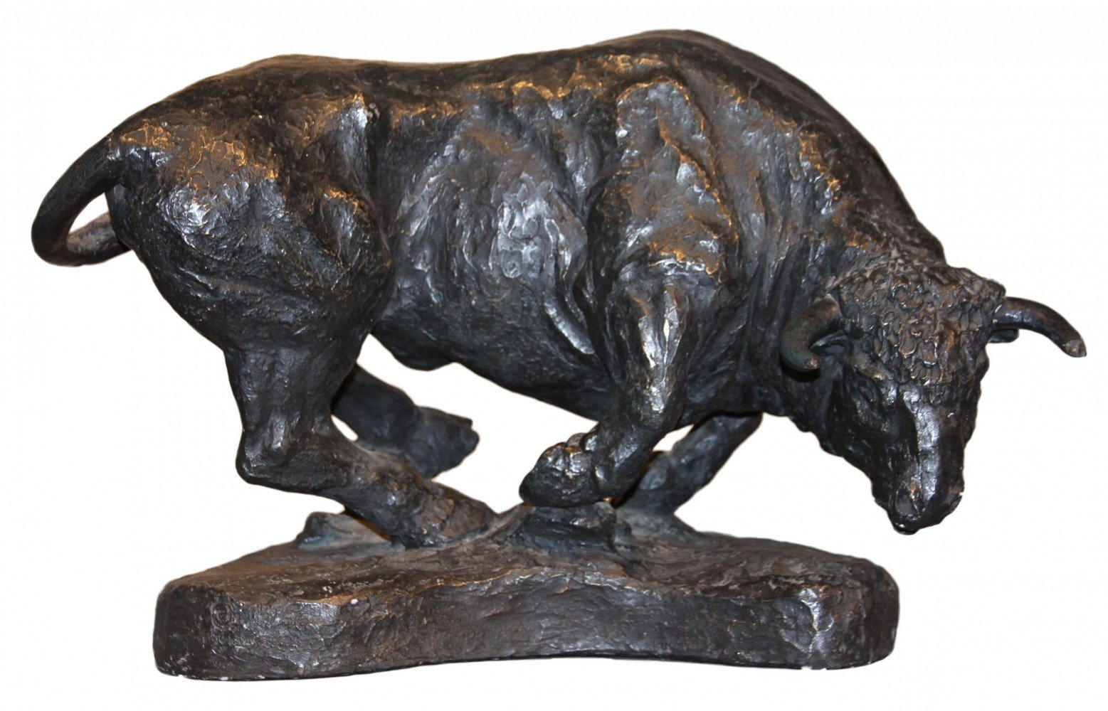 Patinated Plaster Figure of a Bull