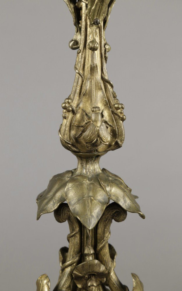 Finely Cast French Bronze Six Light Candelabrum, 19thc.