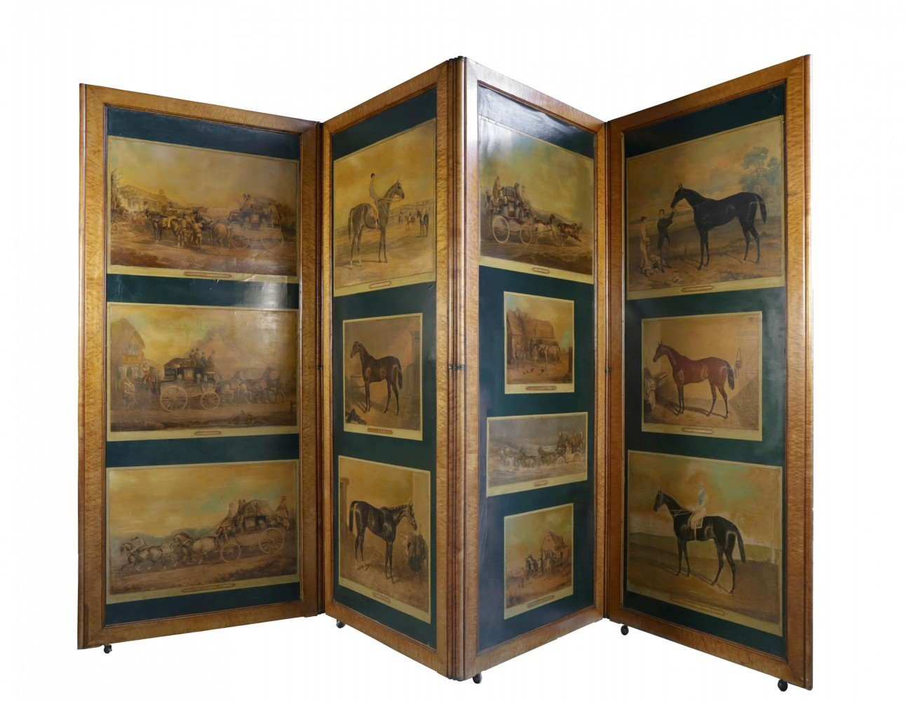 Rare English Figured Maple Four Panel Hinged Screen with Decoupaged Coaching Scenes and Thoroughbreds by 19thc. British School