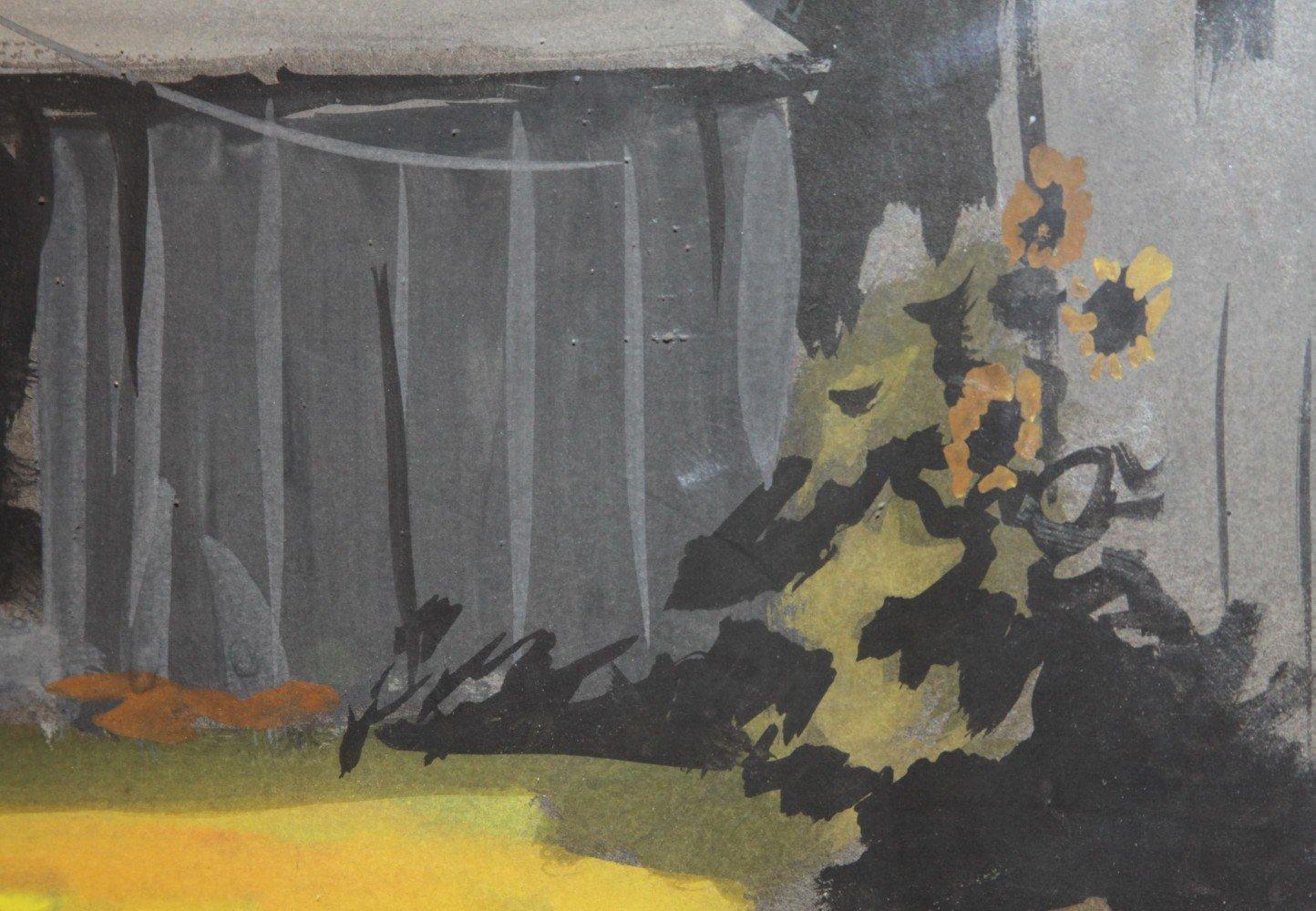 Landscape Gouache on Paper Painting: