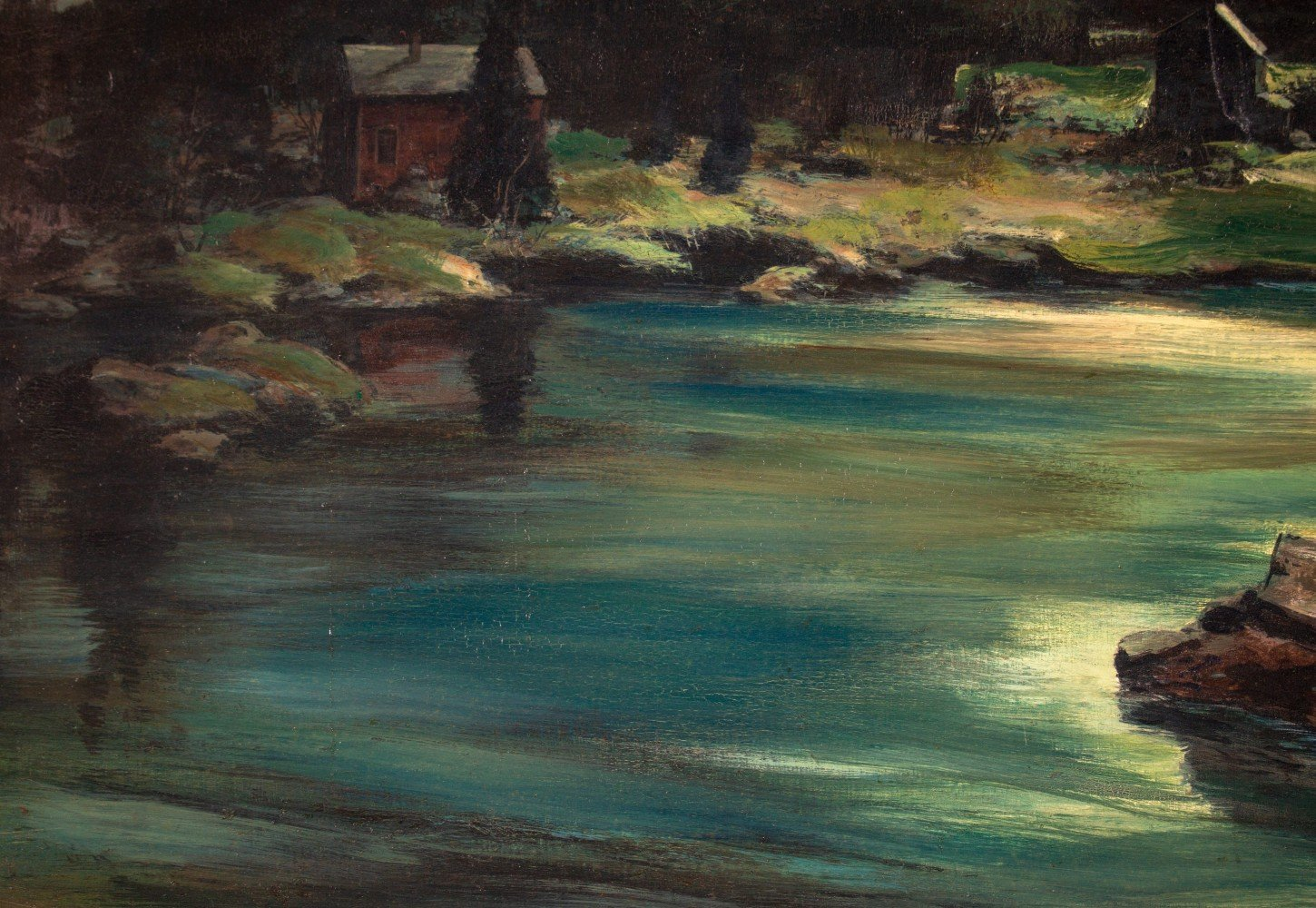Landscape Oil on Masonite Painting: