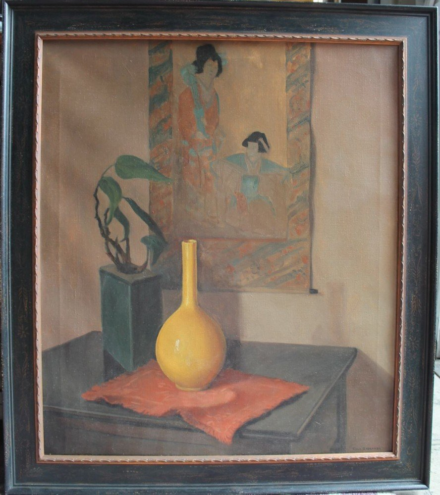 Still Life with Yellow Vase and Japanese Painting by Carl Frederick Gaertner