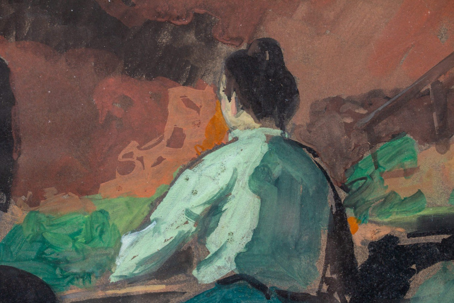 Figurative Gouache on Illustration Board Painting: