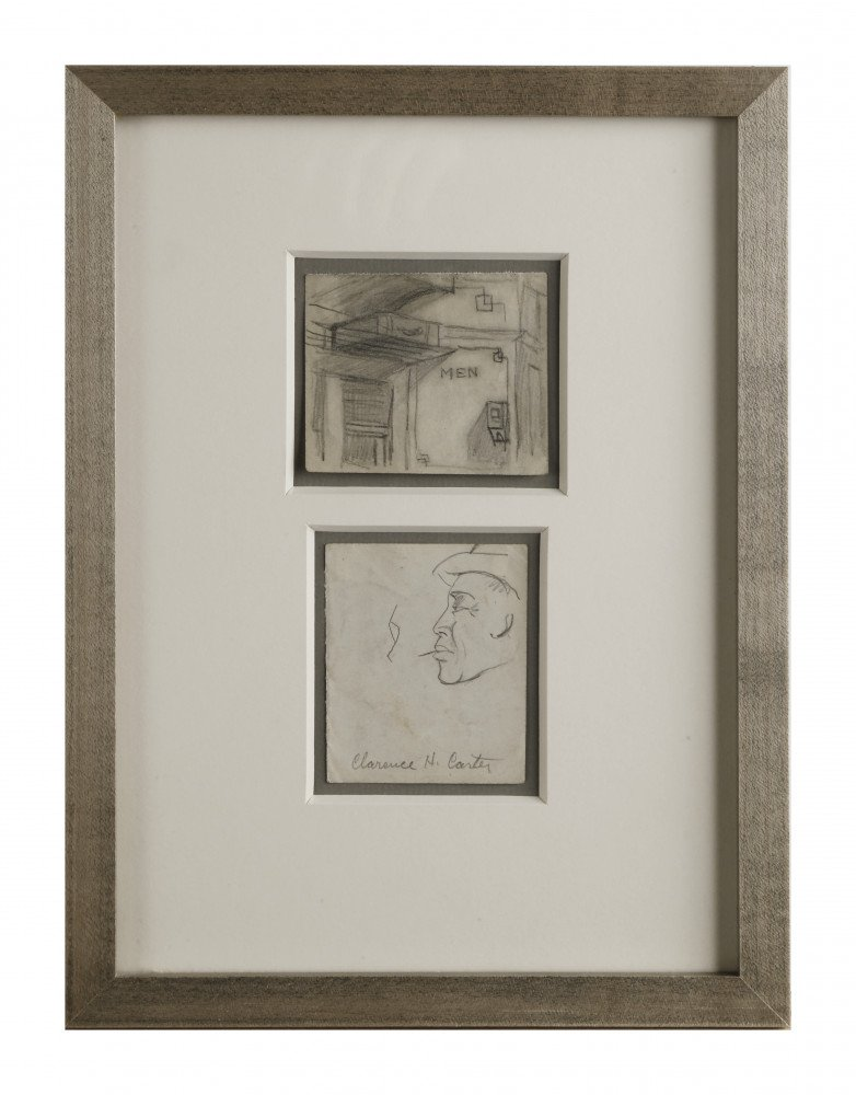 Abstract Figurative Graphite on Paper Drawing: