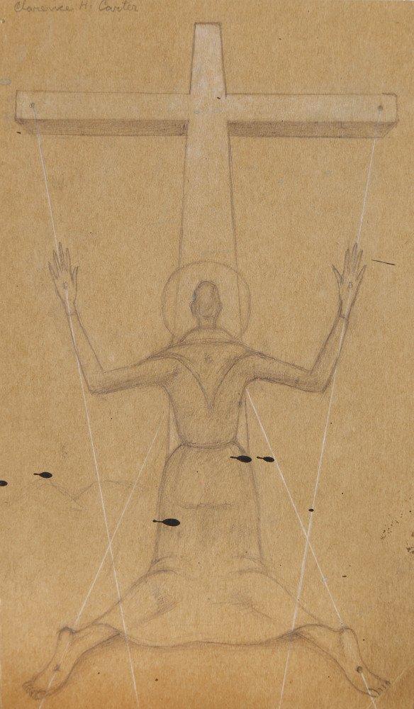 Figurative Graphite on Cardboard Drawing: