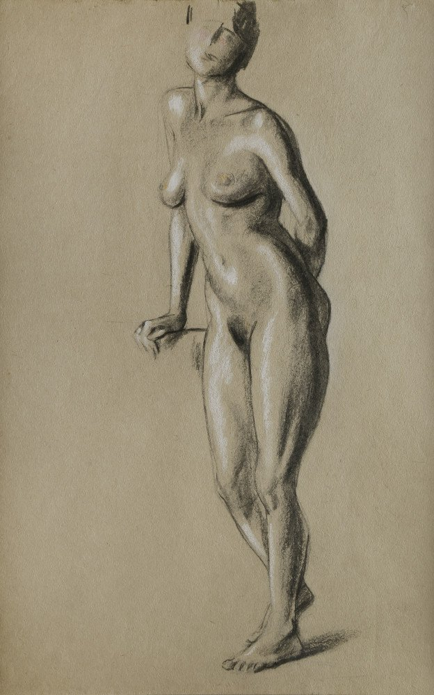 Figurative Charcoal and White Heightening on Paper Drawing: