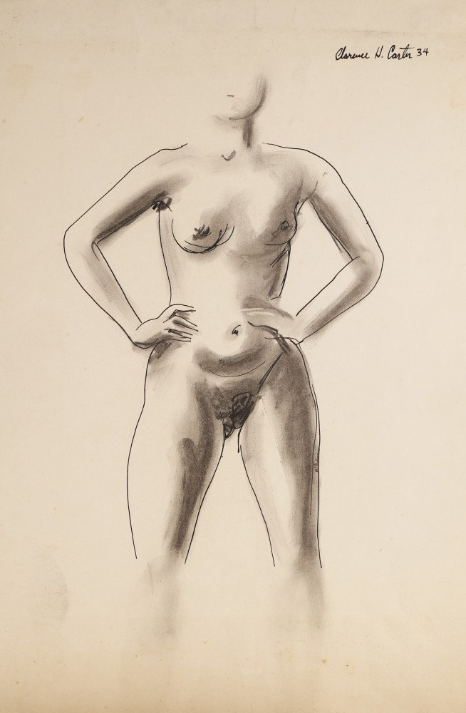 Figurative Pen and Ink Wash on Paper Drawing: