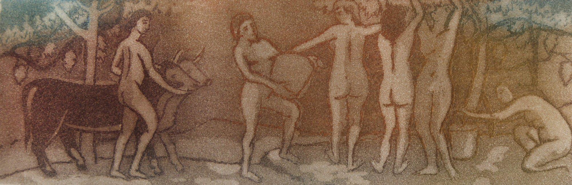 Figurative Aquatint Drawing: