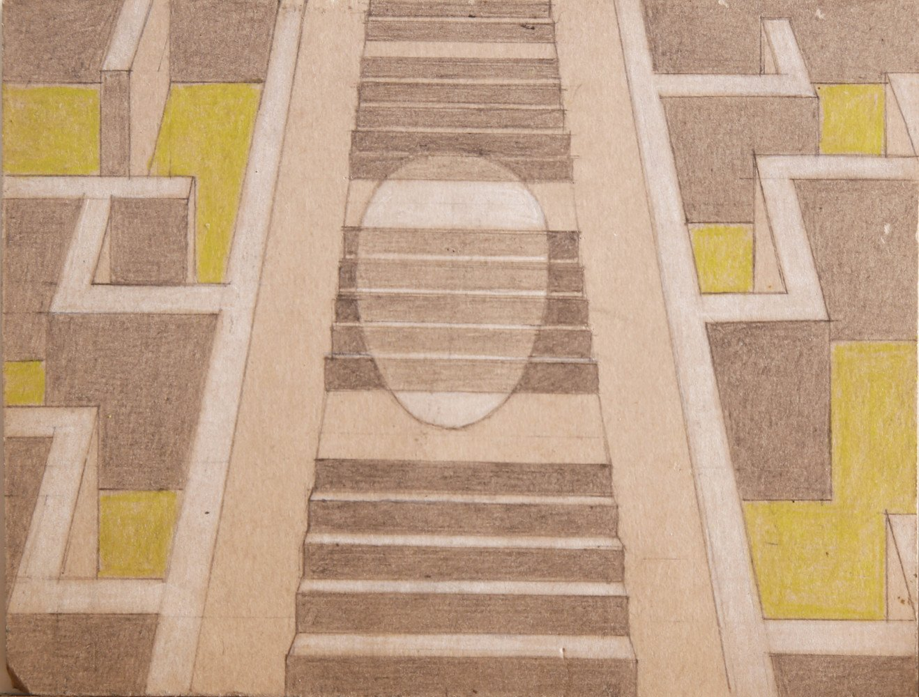 Abstract Graphite, White Heightening and Colored Pencil on Paper Drawing: