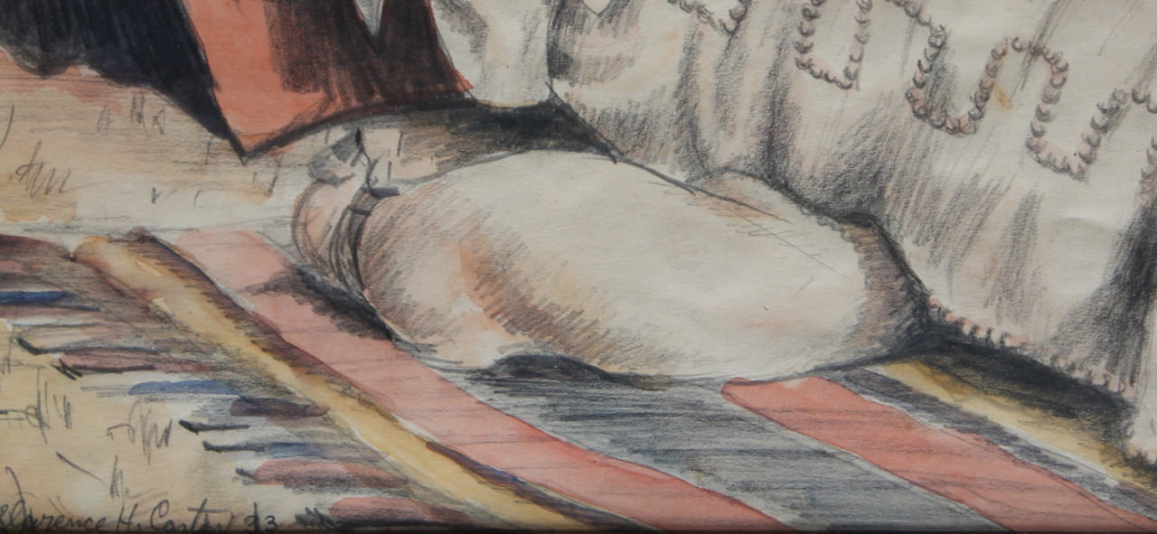 Dog Sleeping under a bed by Clarence Holbrook Carter