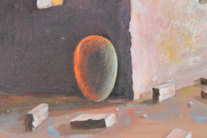 Abstract Landscape Pastel and Watercolor on Paper Painting: