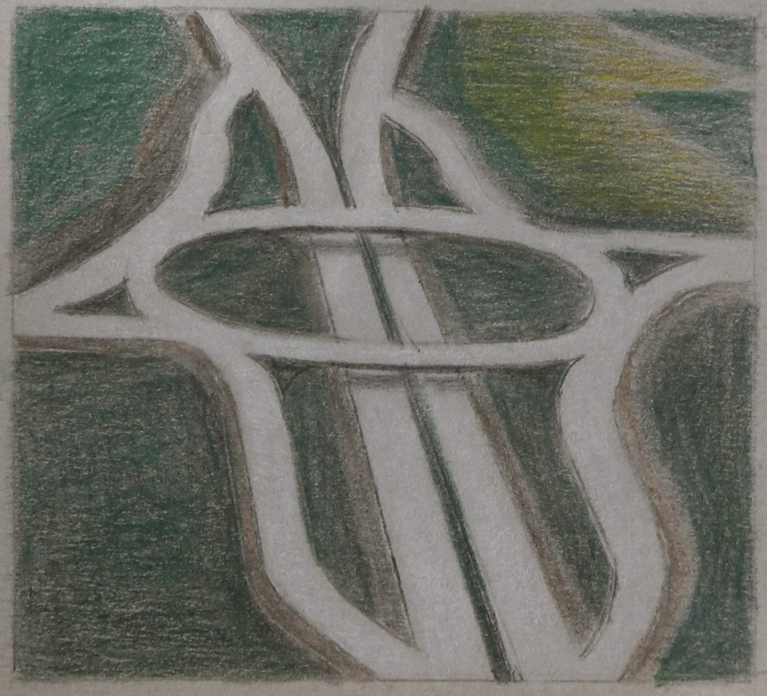 Landscape Colored Pencil on Paper Drawing: