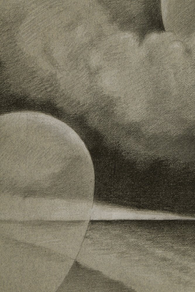 Abstract Charcoal and Chalk on Paper Drawing: