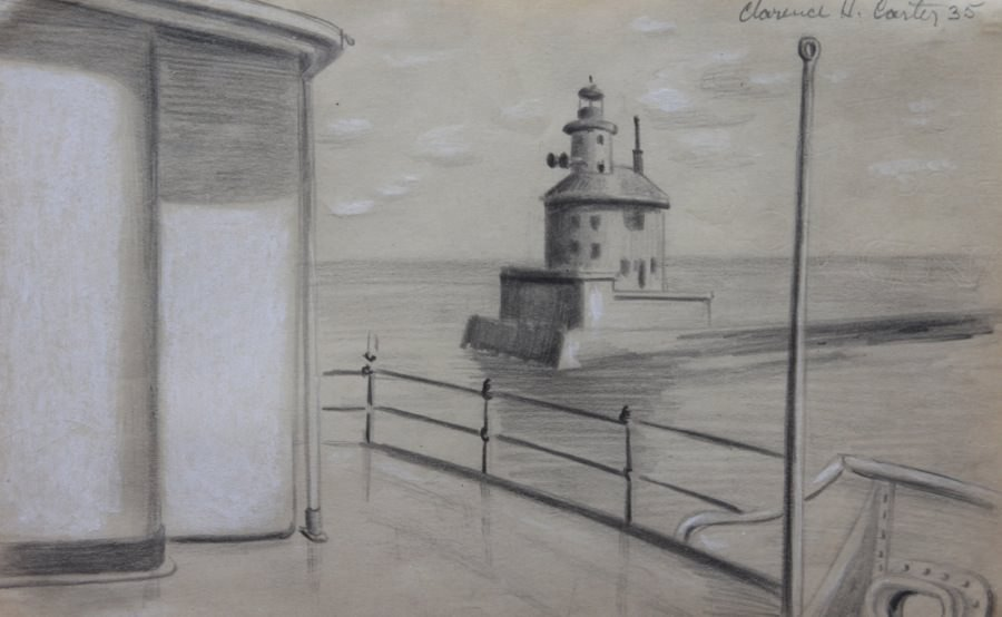Landscape Graphite and Conté Crayon on Paper Drawing: