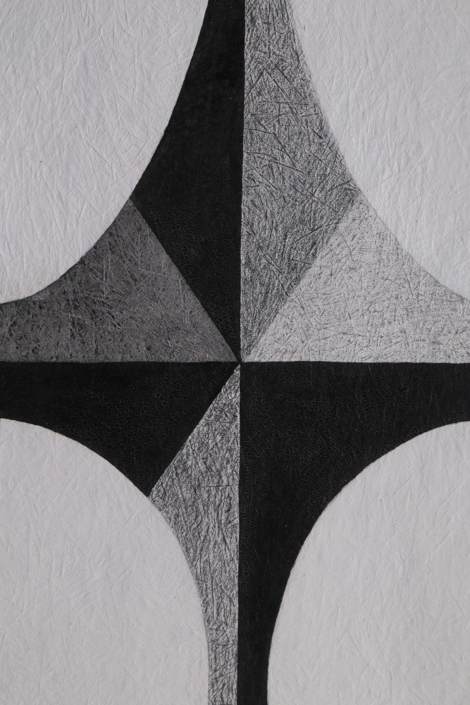 Abstract Ink and Crayon on Paper Drawing: