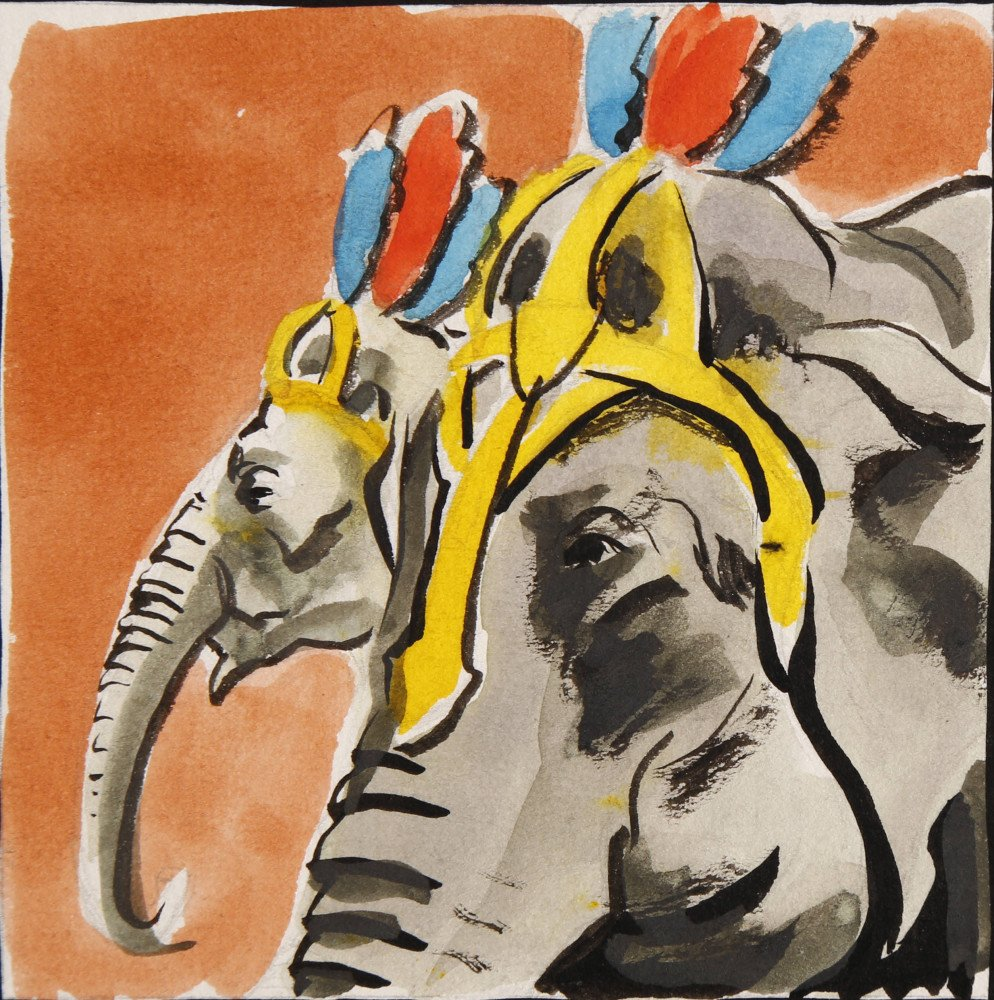 Animal Watercolor on Paper Painting:
