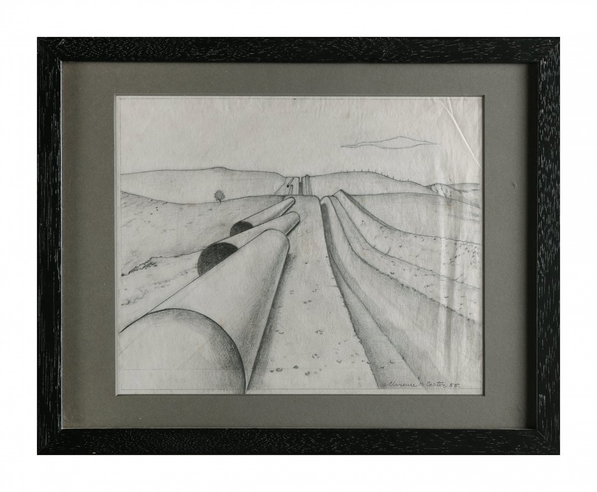 Landscape Graphite on Tracing Paper Drawing: