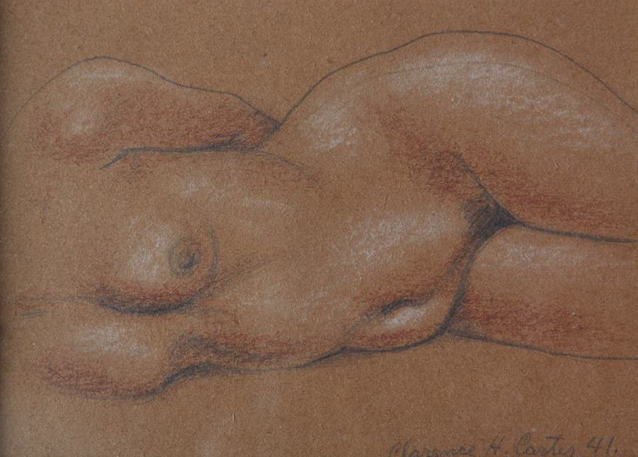 Figurative Graphite and Conté Crayon on Paper Drawing: