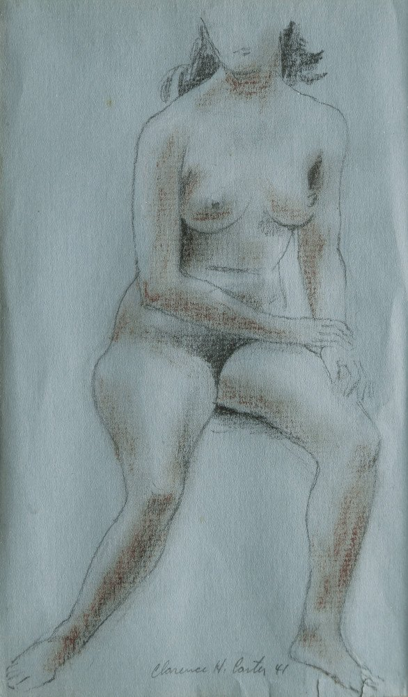 Figurative Graphite and Conté Crayon on Blue Paper Drawing: