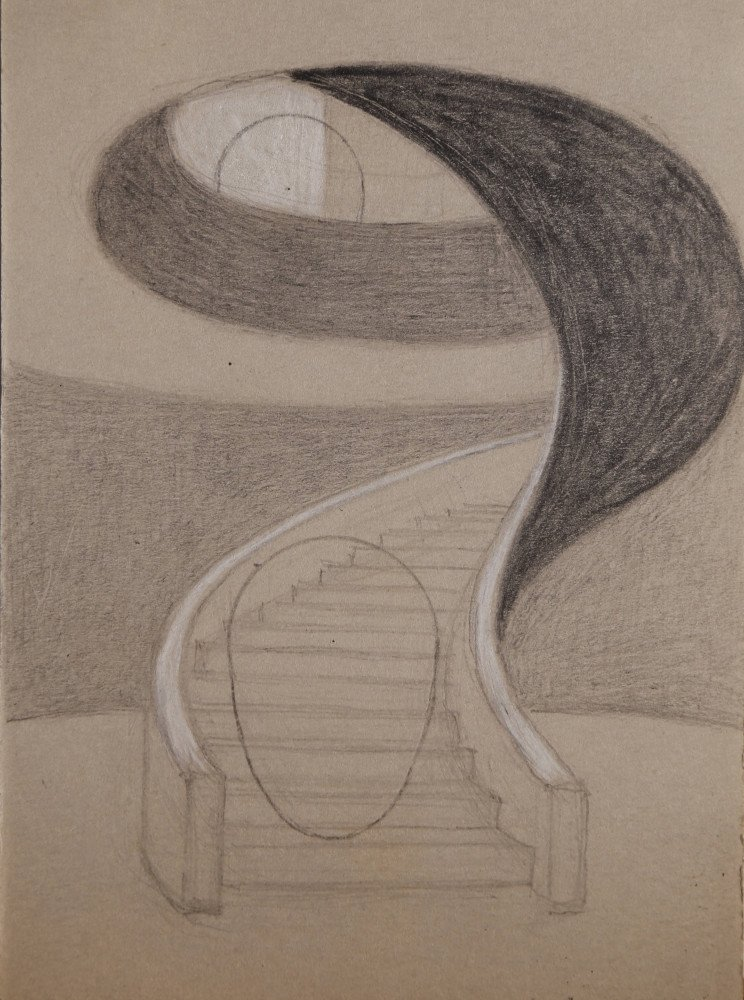 Landscape Abstract Graphite and White Heightening on Paper Drawing: