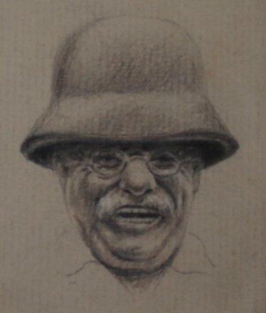 Figurative Graphite on Paper Portrait Drawing: