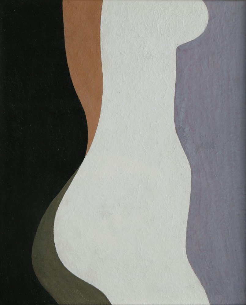 Abstract Figurative Gouache on Paper Painting: