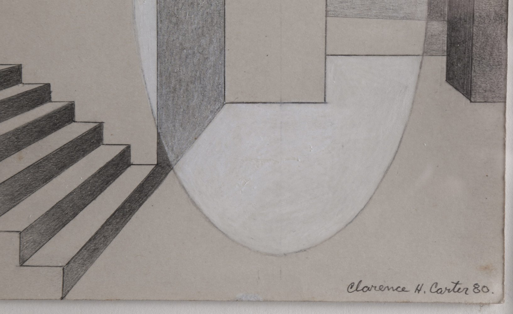Abstract Graphite and White Heightening on Paper Drawing: