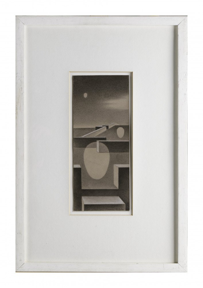 Abstract Graphite, Collage and White Heightening on Illustration Board Drawing: