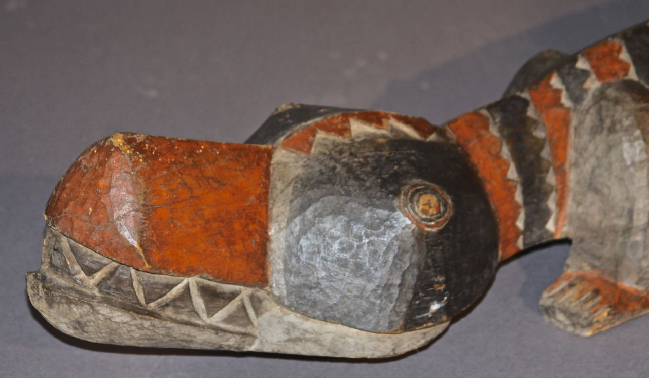 A Carved and Polychromed African Crocodile